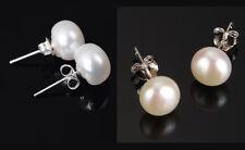 5-6 mm Sterling Silver Freshwater Black White Pink Pearl Stud Earrings Box PE