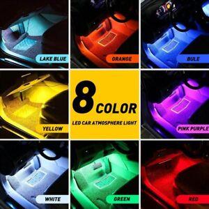 4X LED RGB Car Interior Accessories Floor Decorative Atmosphere Strip Lamp Globe