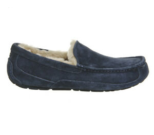 UGG Mens ASCOT Suede Slippers in NAVY UK8 US9 EU42 *Brand New in Box*