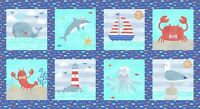 "Fabric Baby Sail Away Nautical Squares Gull Crab Whale on Cotton Panel 24""x42"""