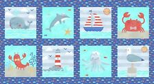 """Fabric Baby Sail Away Nautical Squares Gull Crab Whale on Cotton Panel 24""""x42"""""""