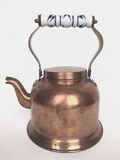Vintage Copper Tea Kettle with Blue Delft Ceramic Handle