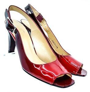 Stuart Weitzman Slingback Heel Women 6 M Red Two Tone Patent Peep Toe Shoe Spain