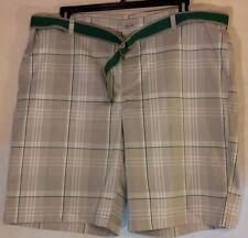 NWOT Izod Green & Gray Plaid Shorts With Matching Belt Size 42