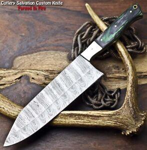 Gorgeous Custom Hand Made Damascus Blade Chef Chopper Knife   WALNUT WOOD