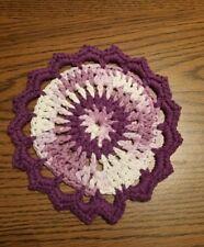 Pretty Purple White Cotton Hand Crocheted Dish Hot Pad Trivet