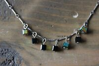Vintage Sterling Silver Iridescent Cube Necklace
