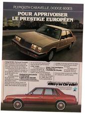 1984 PLYMOUTH Caravelle, DODGE 600ES Vintage Original Chrysler Print AD Canada