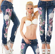 Ƹ̵̡Ӝ̵̨̄Ʒ Mozzaar Skinny Jeans Hose blau washed Flower Print Gr.34-42 Ƹ̵̡Ӝ̵̨̄ƷH25