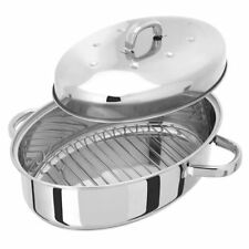Judge High Oval Roaster with Self Basting Lid 35 x 25cm, Silver