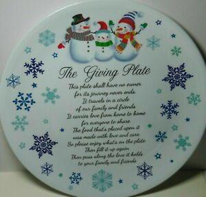 The Giving Plate Set of 2, SKU#:000MF4, Winter Snowmen, 12 Inch Diameter
