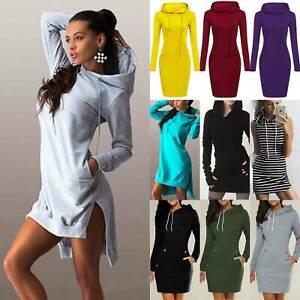 Womens Long Sleeve Hoodie Hooded Mini Dress Pullover Jumper Sweater Sweatshirt