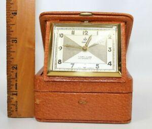 Vintage HAMPDEN 7 J Manual Wind Travel ALARM CLOCK runs Jewelry Box Bow Tie Dial