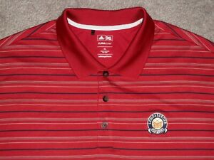 Men's NWOT ADIDAS CLIMACOOL Polo XL BRICK RED w/Stripes w/Adidas & Golf Logo