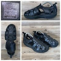 Skechers Shape Ups Fisherman Sandals Womens Size 10 Black Leather Walking Toning