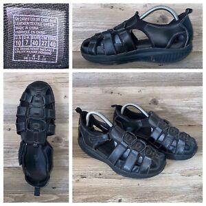 Skechers Shape Ups Fisherman Sandals Womens Size 10 Black Leather Walking Toning