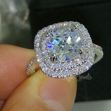 2Ct Cushion Cut Diamond Solitaire Halo Engagement Ring 14k Real Solid White Gold
