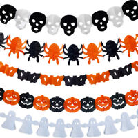LD_ CN_ Halloween Paper Spider Skull Ghost Pumpkin Garland Bunting Banner Deco
