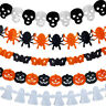 LN_ CN_ Halloween Paper Spider Skull Ghost Pumpkin Garland Bunting Banner Deco