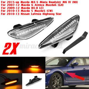 Clear LED Side Marker Indicator Light Turn Signal For Mazda MX-5 5/6 Miata RX-8