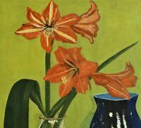 J. Svenke signiert Stillleben-Aquarell um 1950: AMARYLLIS im GLAS und BLAUE VASE