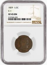 1829 1/2C Classic Head Half Cent Cohen 1 C-1 NGC XF45 BN Brown Circulated Coin