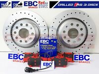 FOR AUDI RS3 8V 2015- REAR PERFORMANCE DRILLED BRAKE DISCS EBC RED STUFF PADS