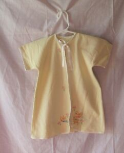 VINTAGE HAND EMBROIDERED YELLOW FLANNEL BABY GOWN NEW
