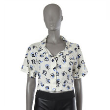 42709 auth PRADA off-white blue grey cotton CROPPED Button Down Blouse Shirt XS