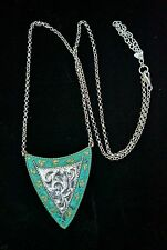 Silpada Sterling Silver, Brass, Turquoise Patina Shield Necklace, Rolo Chain