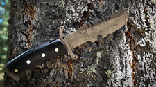 9.5 Damascus Handmade Custom Hunting Skinning Fixed Blade Knife Hand forged