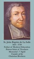 St. John Baptist de La Salle (patron saint of teachers) Prayer Cards, 10-pack