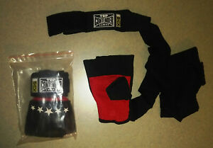 NEW! Combat Sports MMA Top Contender Gel Wrap Handwraps - Black & Red - Sz L/XL