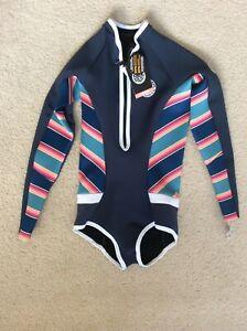 Rip Curl Women G Bomb L/SL Springsuit 1mm Wetsuit Hi Cut WSP7LW Size 8
