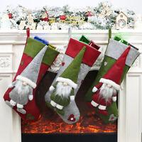 3Pcs Christmas Plush Stockings Fireplace Hanging Socks Xmas Tree Party Decors