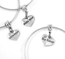 Big Little and middle sister bracelet set 3 sisters set best jewelry gift