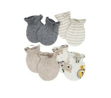 Gerber Baby Boy 4-Pack Organic Oatmeal Lion Mittens Size 0-3M