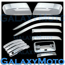 14-15 Chevy Silverado 1500 Chrome Mirror+4 Door Handle+Tailgate Cam+Window Visor