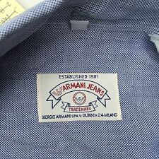 Armani Jeans Mens Medium Blue Long Sleeve Button Front 100% Cotton Casual Shirt