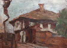 Vintage Impressionist house landscape oil painting