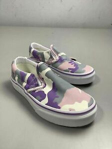 Girl's NWT Vans Purple Camo Slip On Shoes Size 12.5