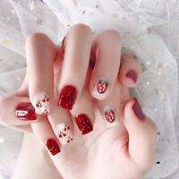 24Pcs Strawberry Cherry Fake Nails Art Tips Nail False Full Cover Manicure Decor