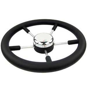 Boat Marine Steering Wheel PU Foam Stainless Steel Cap 5 Spoke 13-1/2 inch