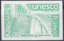 SERVICE N°62 UNESCO ESSAI COULEUR NON DENTELÉ VERT PROOF IMPERF 1980 NEUF ** MNH