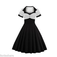 Mujer 1950s 60s Estilo Retro Vintage De Lunares Swing Pin-up Vestido Jive Gala