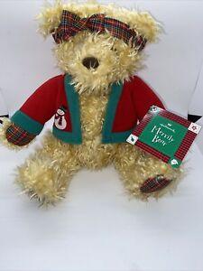 "Hallmark Retired Merrily Bear Plush Christmas NWT 10"""