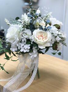 Bridal Wedding Bouquet, Pink Blush Cabbage Rose, Ivory, Eucalyptus, Crystals
