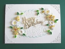 Handmade Personalised Luxury Birthday/Anniversary Card Quilled yellow flowers
