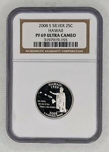 2008-S Hawaii Silver Quarter NGC PF 69 Ultra Cameo 186852D