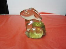 Vintage Art Glass Clear Bunny/Rabbit Paperweight Home Decor 1980's=NR=